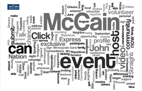 McCain\'s category cloud of words used most often in his RSS feed